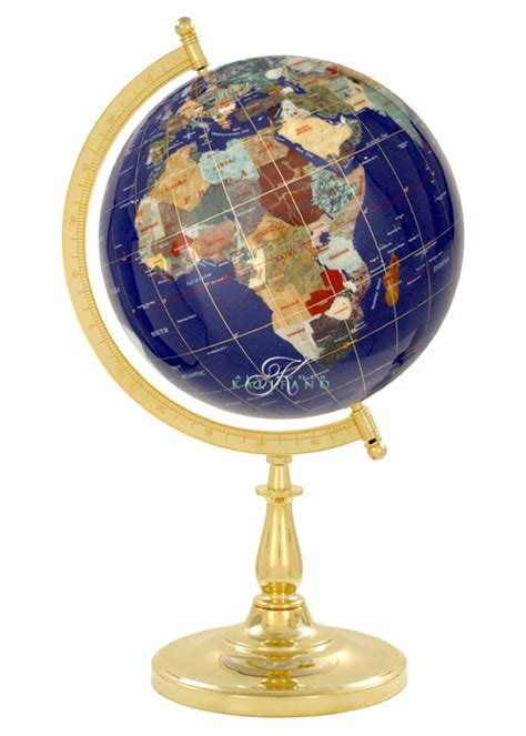 lapis blue semi meridian globe with gold stand
