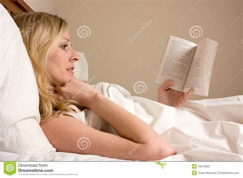 reading l for bed reading in bed stock image image of blond caucasian