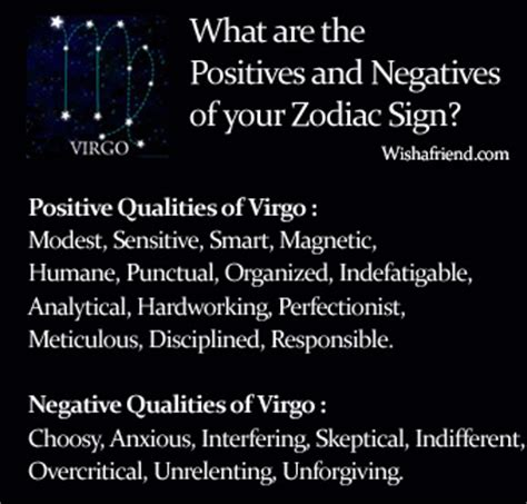 find positives and negatives of your zodiac sign virgo