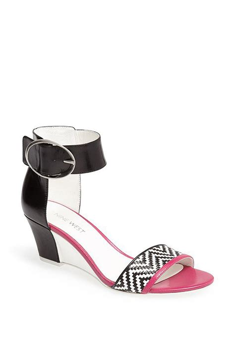 black and white wedge sandals nine west venchie black and white zigzag wedge sandals