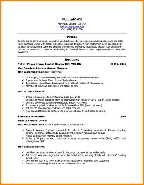 Canadian Resume Sles by 10 Curriculum Vitae Canada Format Cfo Cover Letter