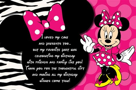 minnie mouse thank you card template minnie mouse