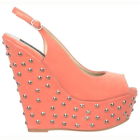 shoekandi studded wedge peep toe shoes sling backs