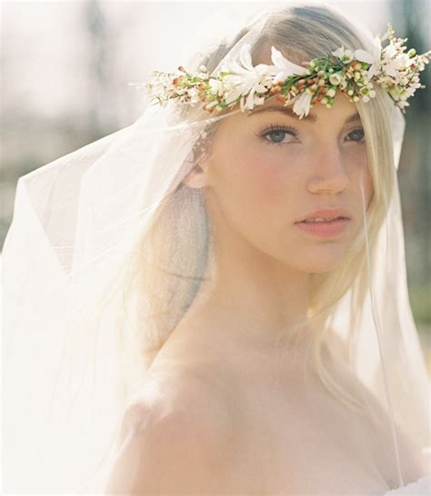 a gold sprayed flower crown wedding hairstyles photos fabulous flower crowns the perfect bridal hair accessory