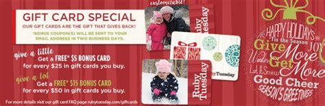 Ruby Tuesday Gift Card Bonus - ruby tuesday gift card bonus lamoureph blog