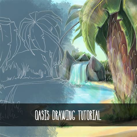 Tutorial Picsart Drawing | drawing tutorial how to use picsart to draw a desert oasis