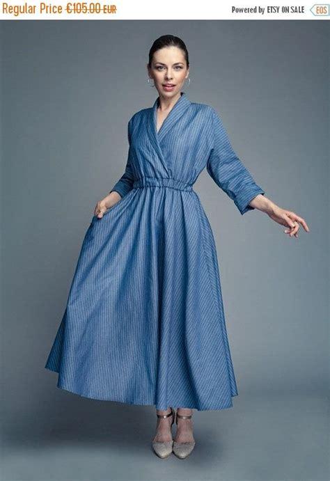 blue kimono dress  long sleeves  simple