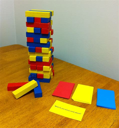 for colored play colored coded jenga with situational question cards
