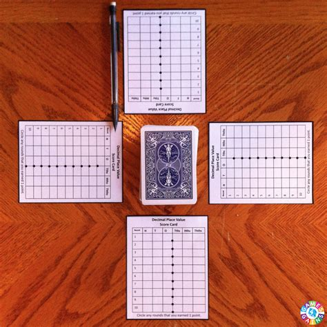 decimal card games printable decimal place value with playing cards games 4 gains
