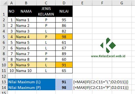 Menguasai Fungsi Dan Formula Ms Excel Tingkat Lanjut S1083 rumus excel max if dan min if mencari nilai terbesar dan terkecil dengan kriteria