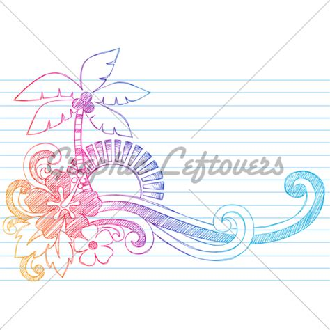 doodlebug island llc summer vacation tropical sunset doodle vector illus