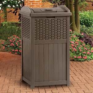 Patio Trash Cans Outdoor by Suncast Resin Trash Receptacle Mocha Brown Outdoor