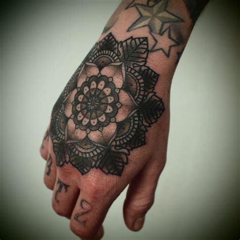 hand tattoo gang geometric flower hand tattoo originally pinned by lynnz