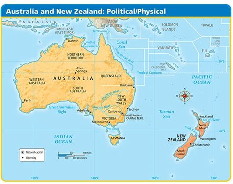 physical map of australia and new zealand physical map of australia and new zealand map