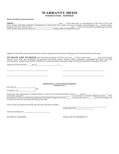 Warranty Deed Statutory Form Oklahoma Free Download Microsoft Word Warranty Deed Template