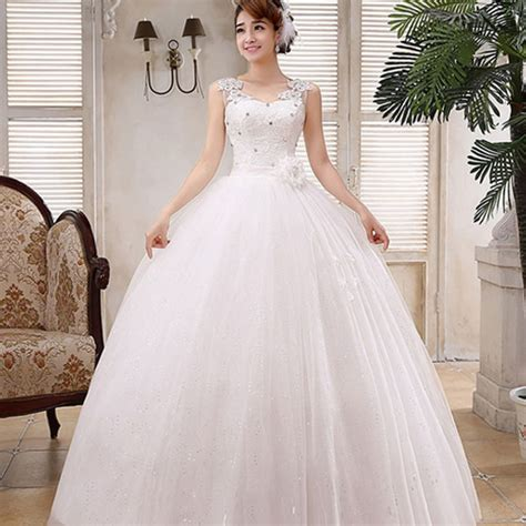 sweet v neck solid floor length wedding dress