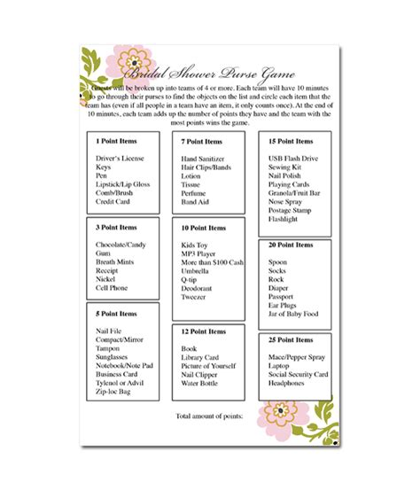 bridal shower games purse game printable purse game bridal shower game whimsical botanical