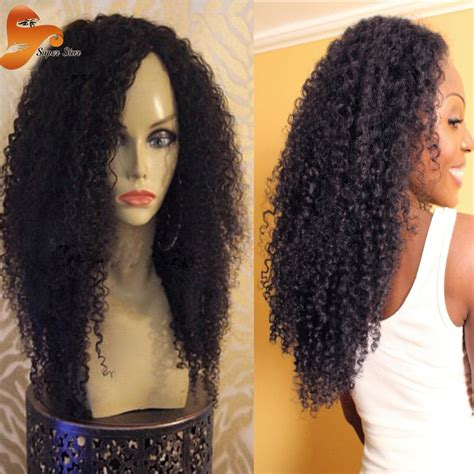 kinky curly human hair full lace front wigs virgin mongolian kinky curly full lace wigs glueless afro