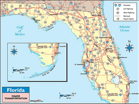 florida on a world map florida transportation map by maps from maps