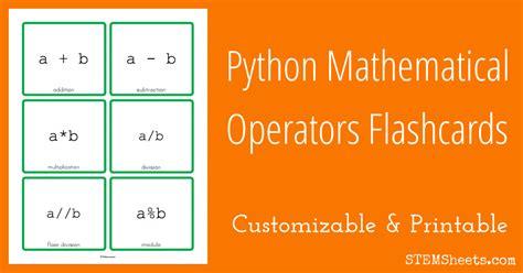 python mathematical operators flashcards stem sheets