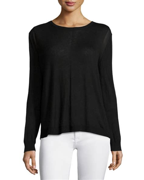 Halston Heritage Long Sleeve Drape Back Sweater Black