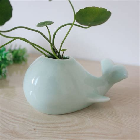 cute succulent pots lovely whale ceramic flowerpot 2 color planter on sale