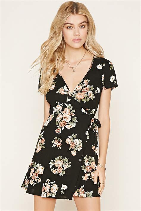 Floral Print Wrap Dress forever 21 floral print wrap dress in black lyst