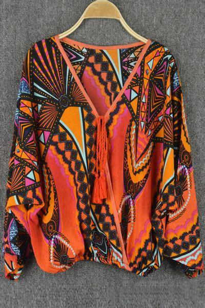 tribal pattern loose pants tribal pattern lace up loose fitting blouse orange