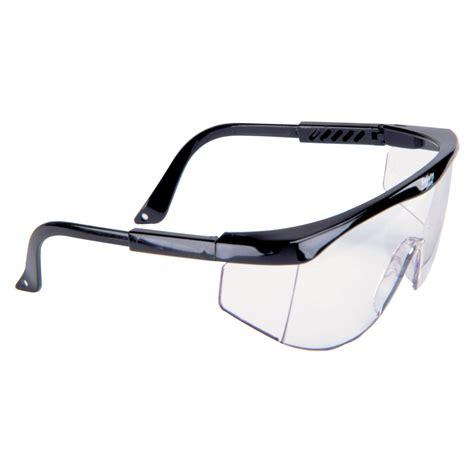 msa black frame safety glasses w clear lens