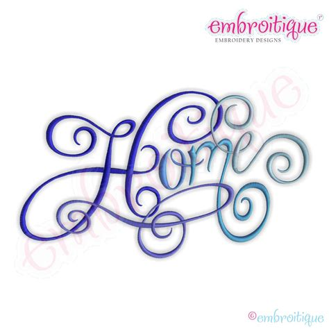 embroitique home calligraphy script embroidery design large