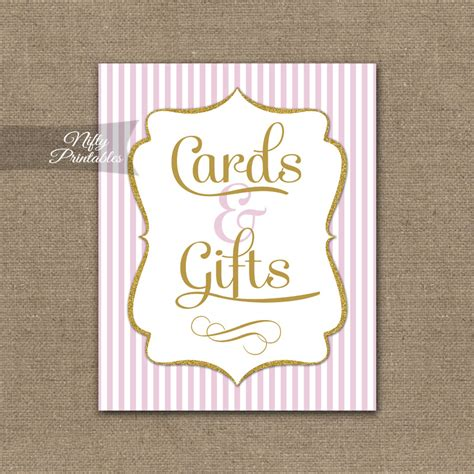 Cards And Gifts Printable Sign - printable cards gifts sign pink gold