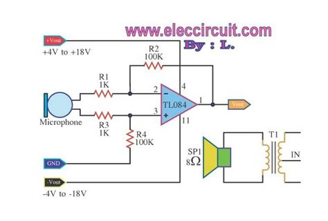 transformer low impedance pre microphone low impedance tl084 circuit diagram world