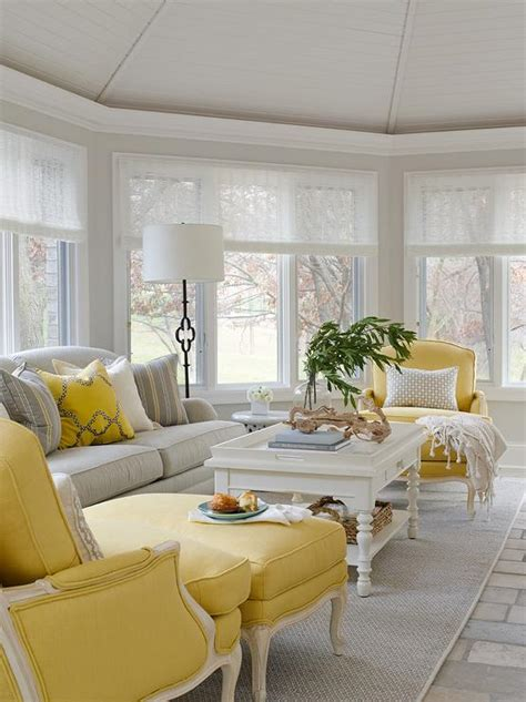 Yellow Chairs Living Room Design Ideas Yellow And Gray Living Room With Spindle Coffee Table Contemporary Living Room