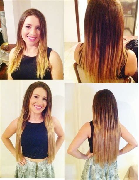 before after zala hair extensions zala balayage cocoa toffee clip in hair extensions 9