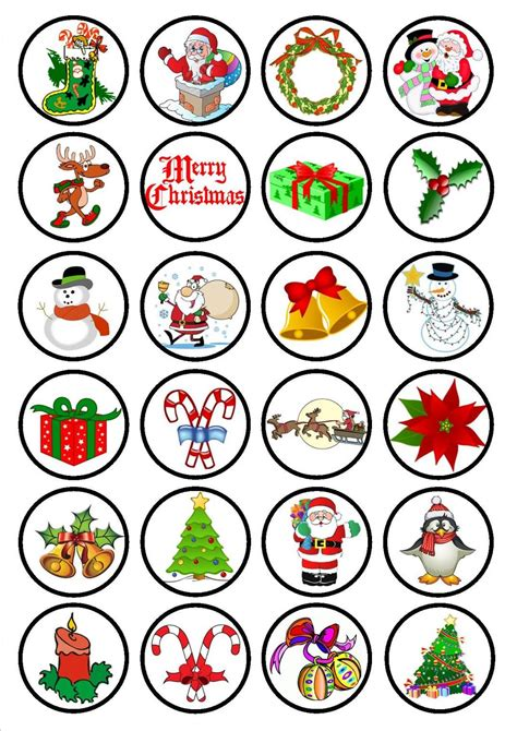 christmas edible premium wafer paper cupcake toppers 1