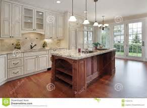 Kitchen Island Cherry Wood by Kitchen With Cherry Wood Island Stock Photos Image 11826763