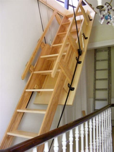 furniture wooden attic acces stairs with handrail with telescoping stairs and retractable