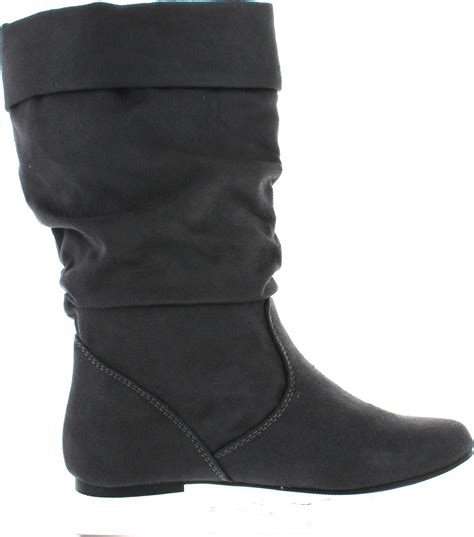 comfortable flat boots soda image women s comfortable flat mid calf boot shoes ebay