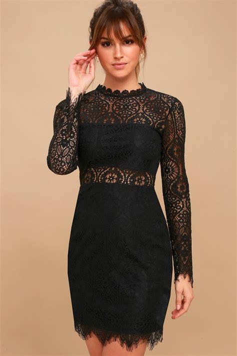 sexy black dress black lace dress long sleeve lace dress