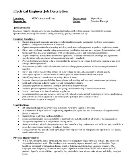 electrical engineer description resume sle