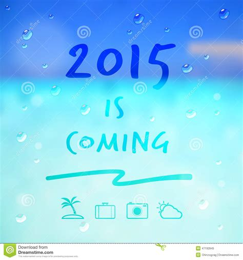 new years 2015 vacation time happy new year 2015 is coming word and travel icon on