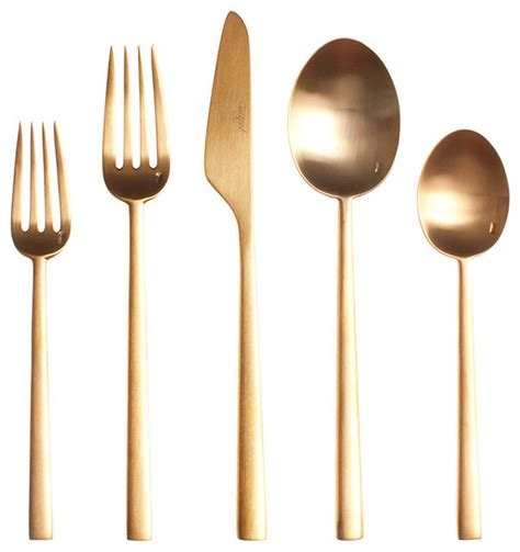 steel place setting set of 5 modern flatware and rondo gold cutlery 5 piece set modern flatware and