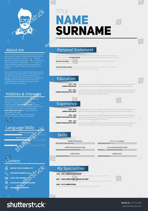 cv design company resume minimalist cv resume template simple stock vector