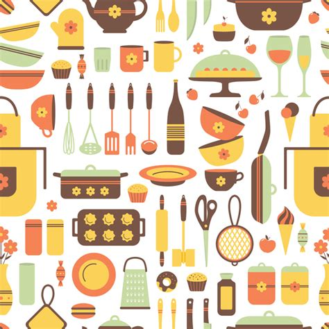 kitchen pattern vector free kitchen flat pattern background vector vector food free