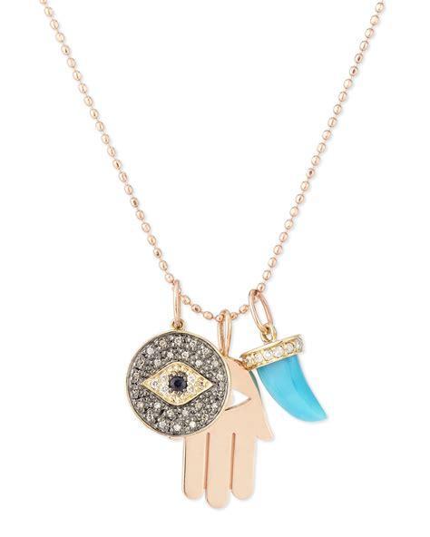 jewelry supplies sydney sydney evan spiritual trio charm necklace in metallic lyst