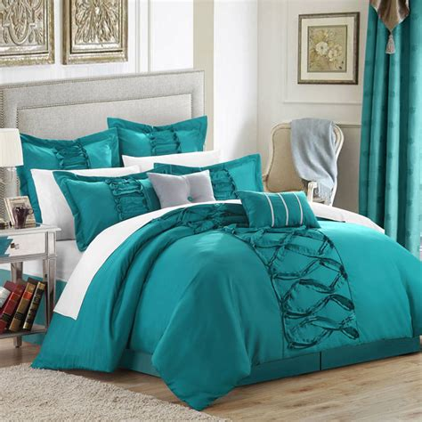 turquoise bedding sets turquoise chic home ruth ruffled comforter set