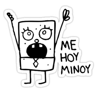 doodlebob hoy minoy quot me hoy minoy spongebob meme quot stickers by g redbubble