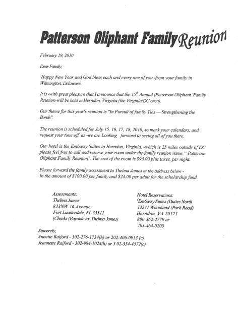 Printable Exle Of Family Reunion Program Patterson Oliphant Family Reunion Campbell Family Letter Template