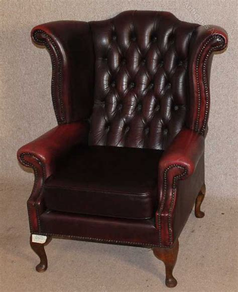Chesterfield Wing Armchair by Antiques Atlas Leather Chesterfield Wing Back Armchair
