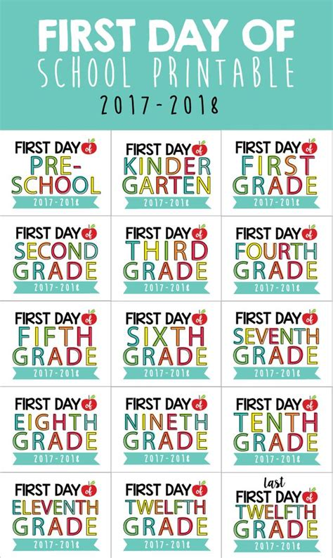first day of sign printable back to kindergarten and